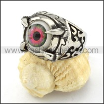 Stainless Steel Prong Setting Red Eye Ring r000538