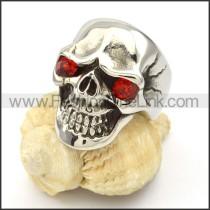 Stainless Steel  Red Eyes Skull Ring r000427