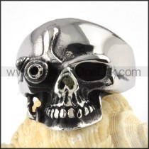 Steel One-eyed Skull Ring r000076
