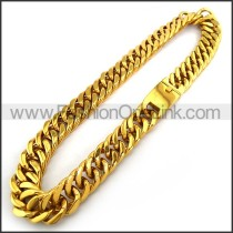 Gold Interlocking Chain Plated Necklace n001231