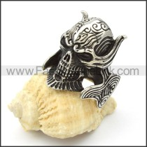 Stainless Steel Wicked  Skull Ring r000421