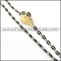 Succinct Black and Silver Plated Necklace    n000217