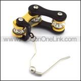 Black and Gold Biker Earrings    e001068