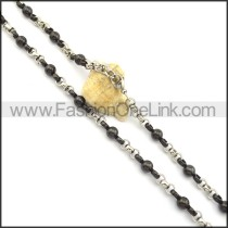 Black Beads and Silver Plated Necklace n000822