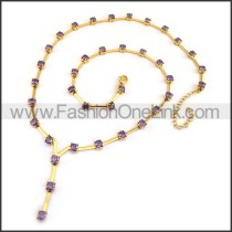 Golden Necklace with Peuple Stone n001171
