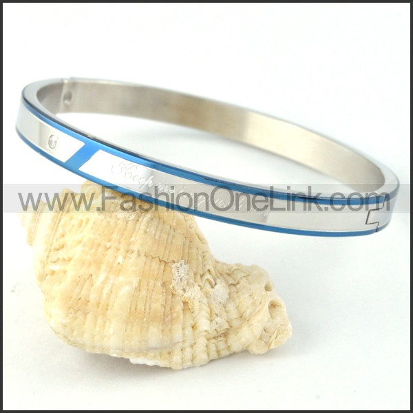 Blue Plated Sides Silver Couple Bangle b000438