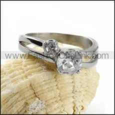 Round Prong Setting Zircon Stainless Steel Ring r000034