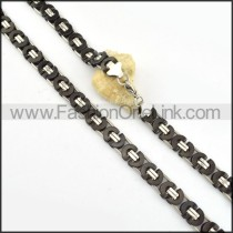 Succinct Black  Plated Necklace      n000170