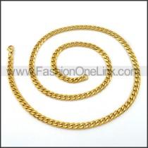 Golden Interlocking Chain Plated Necklace n001124