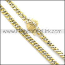 Two Tone Interlocking Stainless Steel Stamping Necklace n000952