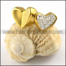 Stainless Steel Double Hearts Ring in Goldr000252