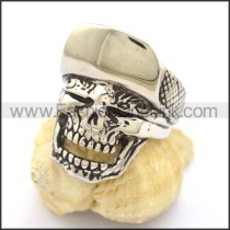 Exquisite Stainless Steel Flipcap Skull Ring r001794
