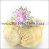 Beautiful Stainless Steel Clear Stone Ring r001320