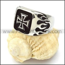 Stainless Steel Square Design  Fire Cross Ring r000357