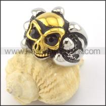 Black Zircon Eyes Skull Ring r001161
