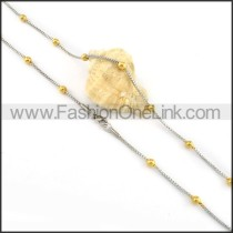 Silver Plated Necklace with Golden Beads        n000139