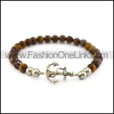 Tiger Eye Stone Bracelet with Anchor Charm b006107