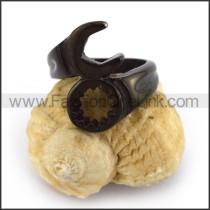 Black Stainless Steel Screw Wrench Biker Ring r003670