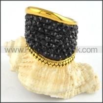 Stainless Steel Black Rhinestone Ring r000241