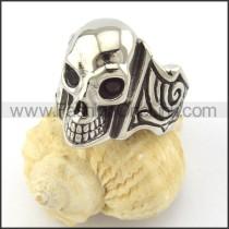 Black  Zircon Eyes Skull Ring r001164