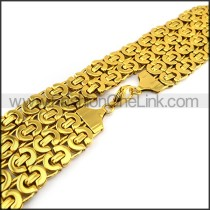 Golden Interlocking Chain Plated Necklace n001144