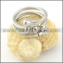 Stainless Steel Rope Ring in Silver Color r000575