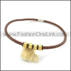 Brown Leather Necklace with Golden Bead     n000447