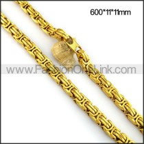 Gold Interlocking Chain Plated Necklace n001106