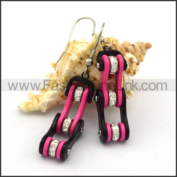 Black and Pink Biker Earrings    e001060