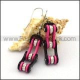 Black and Pink Biker Earrings    e001060