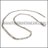 Flat Silver Stamping Necklace n001168