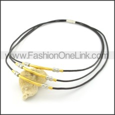 Chic Black Leather Necklace     n000449