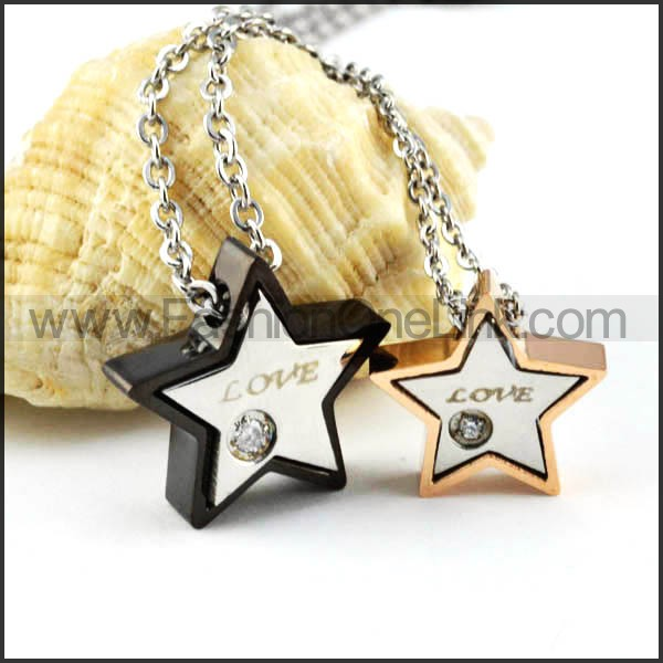 Exquisite Pentacle Stainless Steel Couple Pendants p000088