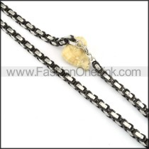 Succinct GoldenBlack and Silver Plated Necklace  n000147