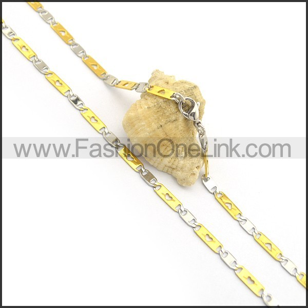 Silver and Golden Flat Chain Plated Necklace n000899