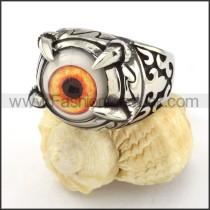 Stainless Steel Prong Setting Orange Eye Ringr000537