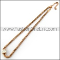 Rose Gold Plated Necklace with Spakle Stone n001226