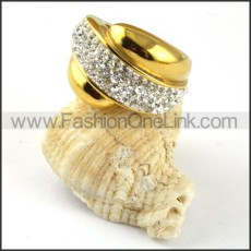 Gold Stainless Steel Clear Zircon Ring r000197