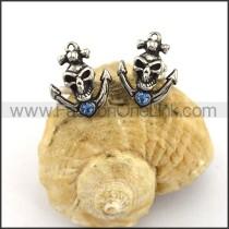 Skull Earrings With Blue Zircon       e001165