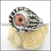 Stainless Steel Prong Setting Eyes Ring r001198