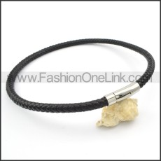 Black Leather Necklace    n000108