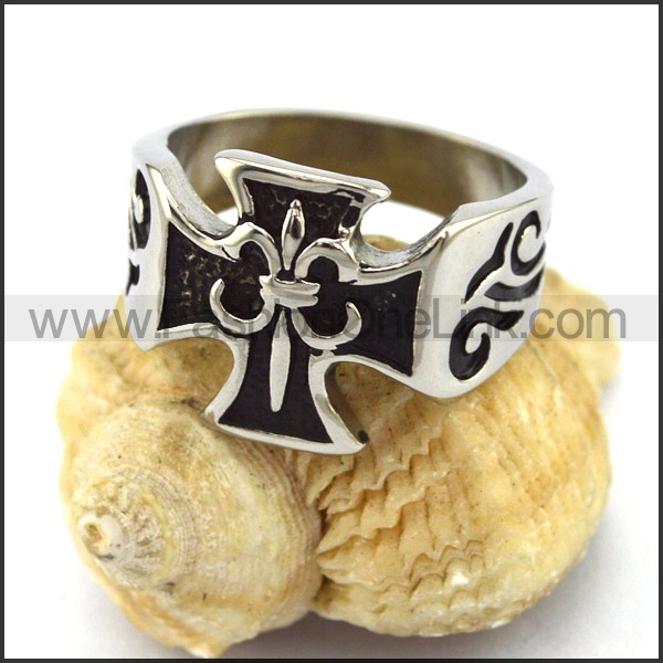 Delicate Stainless Steel Cross Ring   r002933
