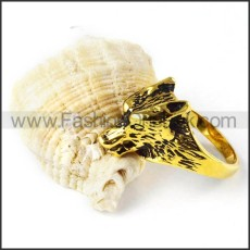 Antique Black Gold Stainless Steel Wolf Ring r000256