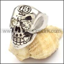 Stainless Steel Crystal Eyes Skull Ring r000474