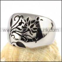 Smooth Flower Stainless Steel ring r000084