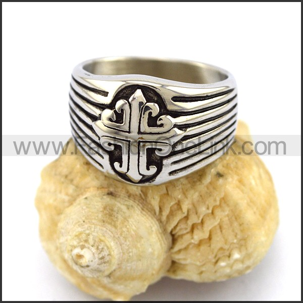Stainless Steel Cross  Ring r003363