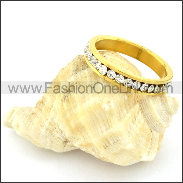 Stainless Steel Gold Plating Clear Zircon Wedding Ring  r000632