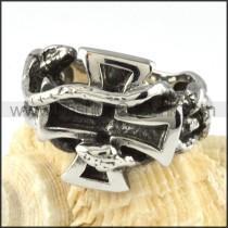 Twin Snake Cross Ring r000056