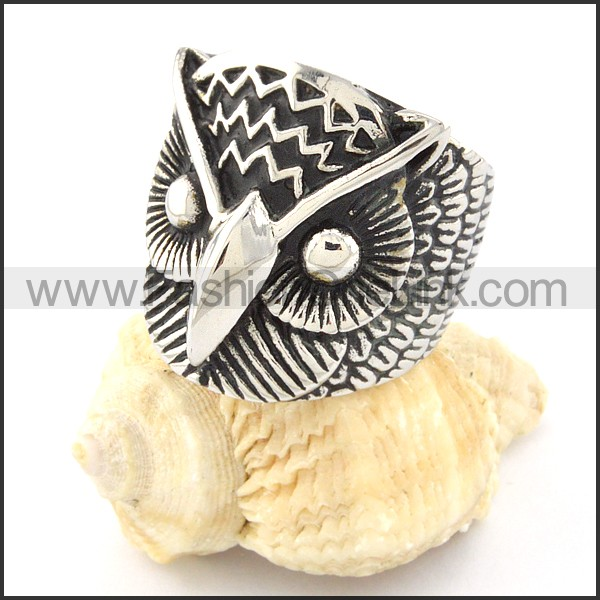 Stainless Steel Night Owl Ring r000649