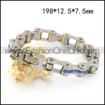 316L Stainless Steel Bike Chain Bracelet with Blue Rhinestones b006123